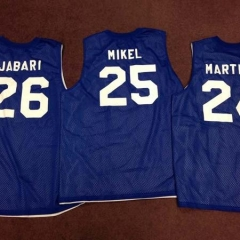 Three basketball jerseys with participant names and numbers.