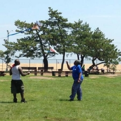 Participants flying kites.