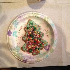 A plate with a Christmas Tree cookie decorated with sprinkles.