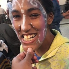 A participant painted her face for Halloween.