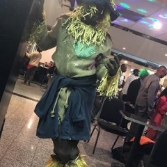 A  participant dressed up as a scarecrow.