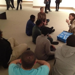 Listening to an art lecture at The MET.