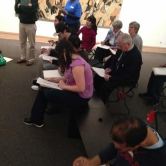 Participating in an art session at The MET.