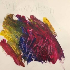 An abstract painting by one of the participants.