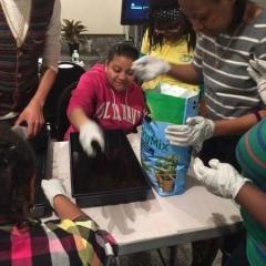 Participant preparing the soil.