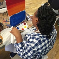 A participant experimenting with primary colors.