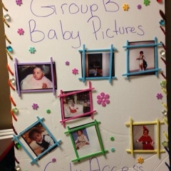 Artwork with participant baby pictures.