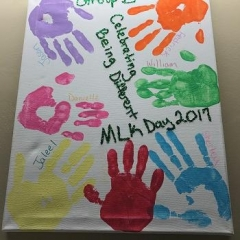Art painting created by participants in celebration of Martin Luther King Jr. Day.
