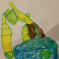A drawing made for the art contest.  ID: A picture of a bulldozer in yellow, blue and green.