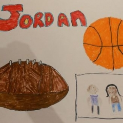 Sports inspired artwork.  ID: A picture of a basketball and a football with two kids in the corner.