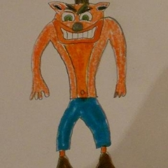 A drawing of a computer game character.  ID: The character wearing blue pants and an orange shirt.
