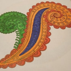 A drawing made for the art contest.  ID: An intricate paisley design colored in red, green and purple.
