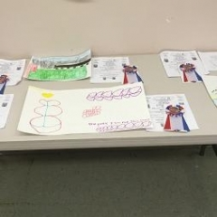 A table displaying winning submissions and reward ribbons.