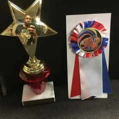 Some of the trophies won during the contest.  ID: A star shaped gold color trophie and a red, blue and white ribbon.