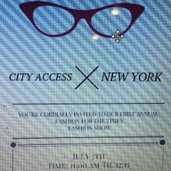 "Fashion Show invitation.  ID: There is a picture of eyeglasses at the top of the invitation.  The rest of the invitation reads ""City Access New York: You are cordially invited to our first annual fashion for the times fashion show"""