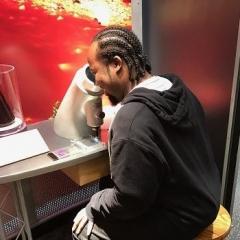 A participant looks into a microscope.