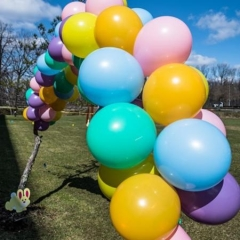 A large balloon arch.  ID:  Colorful balloons tied together.