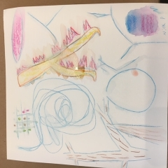 Drawing by a participant.  ID: Abstract art work in blues, yellows and pink.