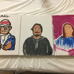 Three participant self portraits.  ID: Two are on a white background and one has a plum background.