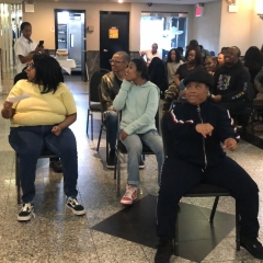 Participants reenact the Rosa Parks story in celebration of the Black History Month