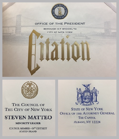 Recognitions- office of the president, the Council of city of NY, State of NY Office of the attorney general