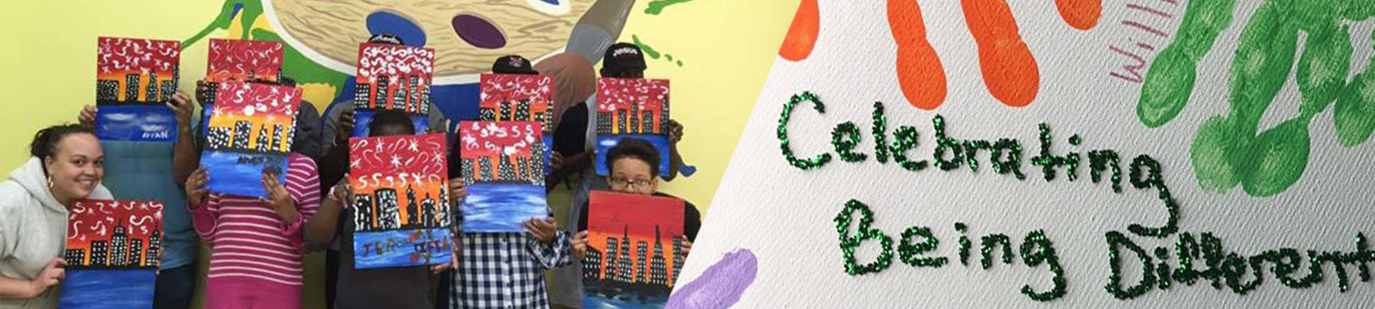 Celebrating being different- students holding their art