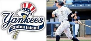 Staten Island Yankees logo and a picture of a baseball player.