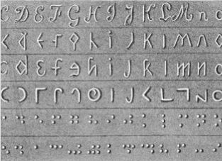 Braille example on a grey background.