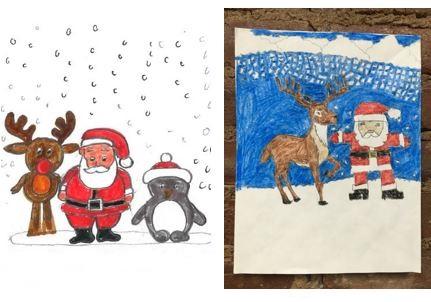 Holiday drawings of Santa by participants
